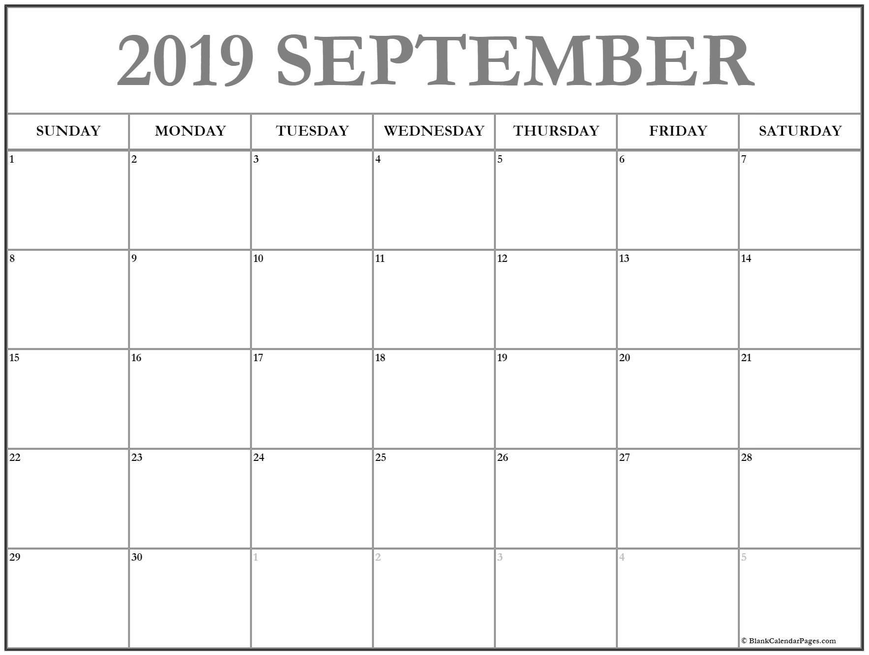 September 2019 Calendar | Free Printable Monthly Calendars Mon Fri Monthly Calendar Template