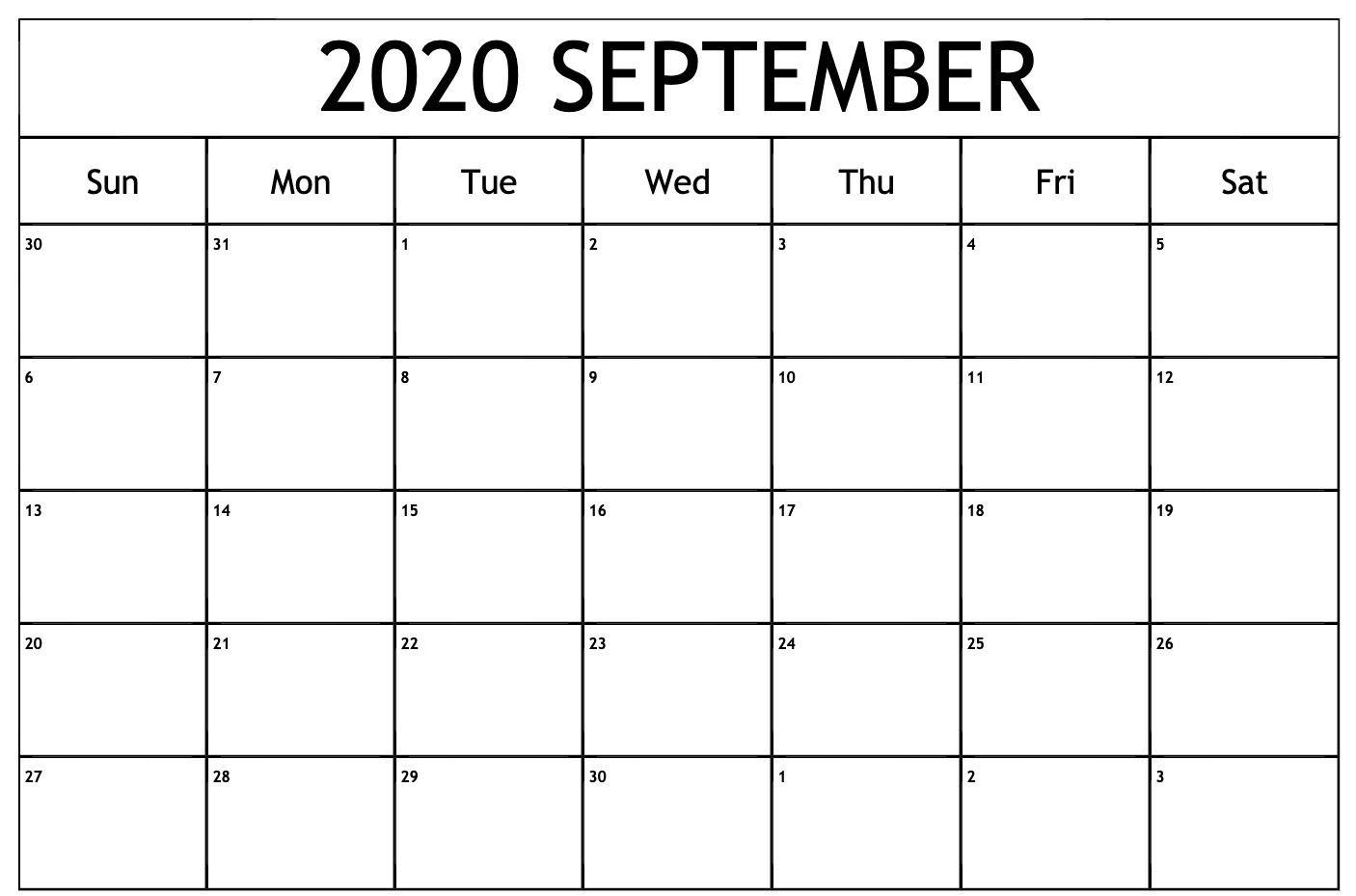 September 2020 Calendar Pdf   September Calendar, Calendar Free Blank Printable Monthly Calendar Pdf