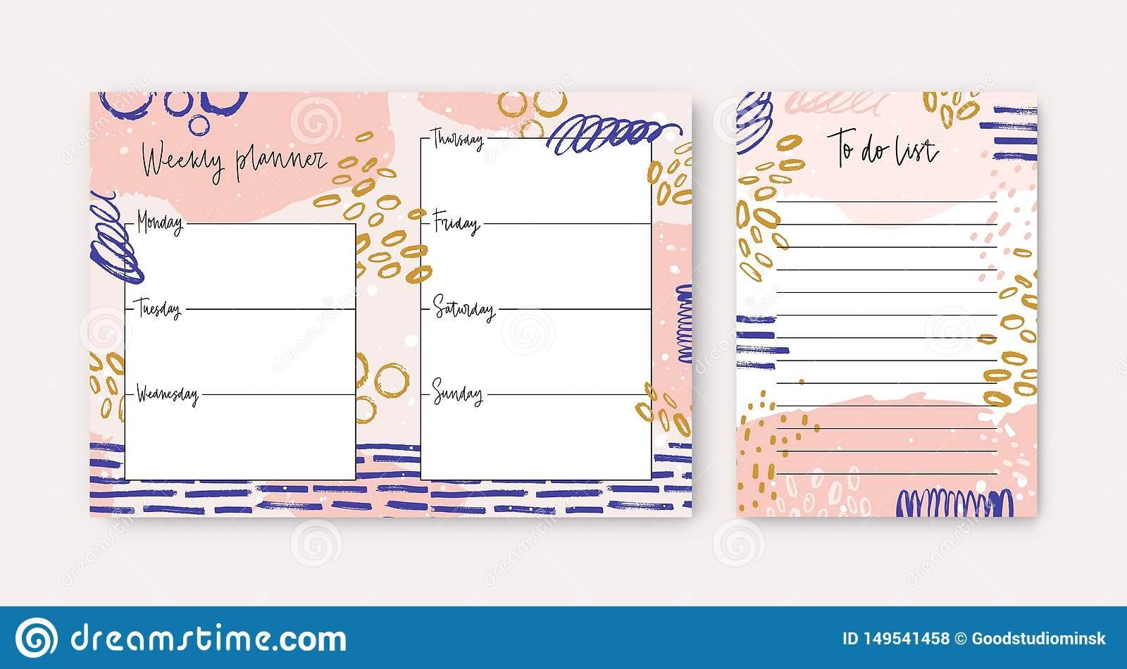 Set Of Weekly Planner And To Do List Templates Decorated Weekly Planner Template 5.5