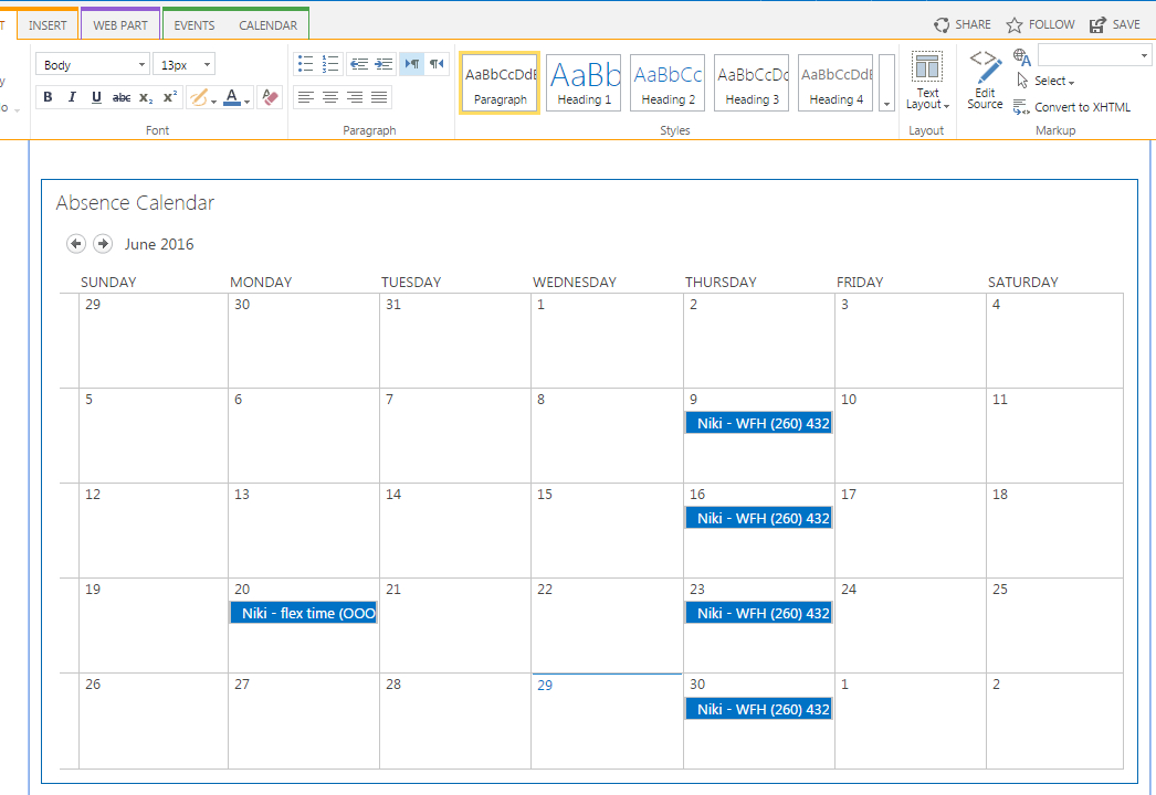 Sharepoint Online Calendar Web Part Only Shows Events When Calendars I Can Edit
