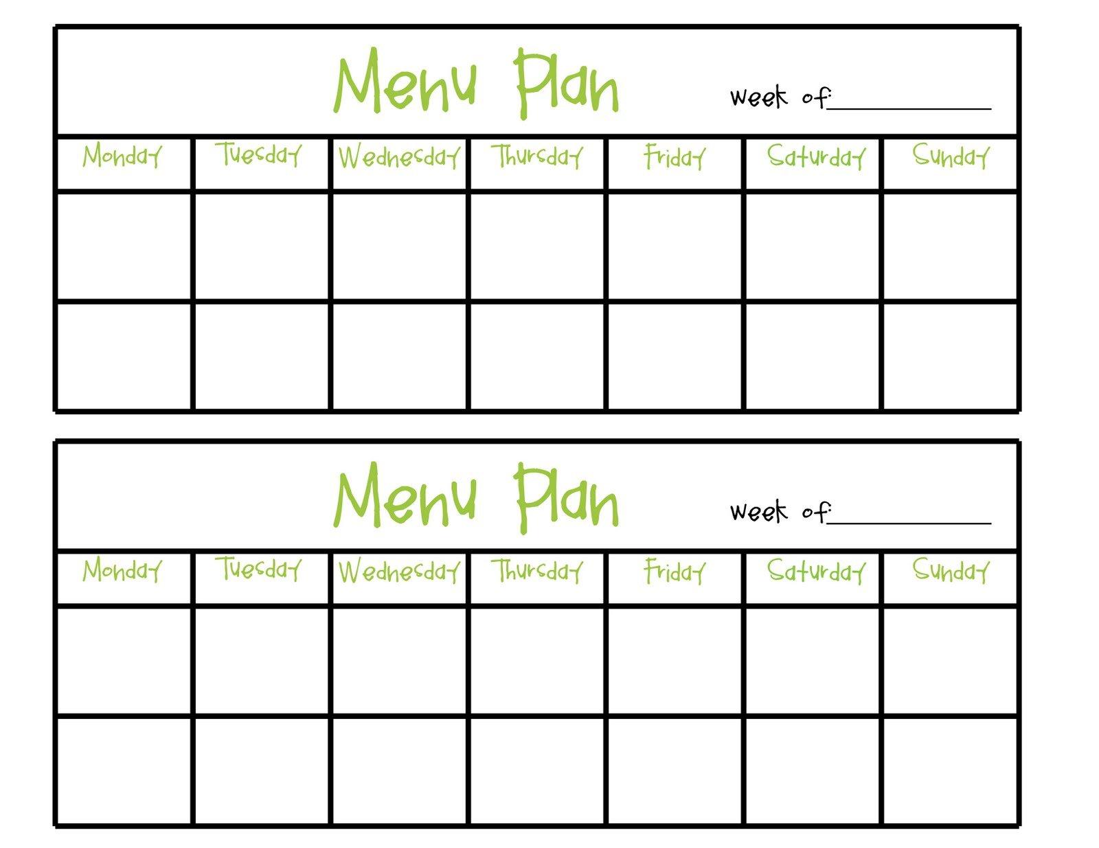 Simply Complicated: Menu Planning Two Week Food Calendar