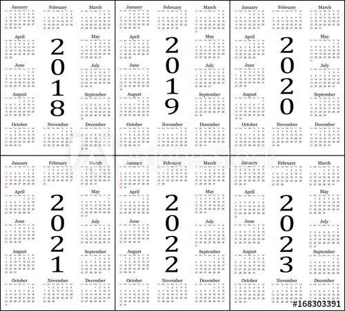 """Six Year Calendar – 2018, 2019, 2020, 2021, 2022 And 2023 Five Year Calendar Image"