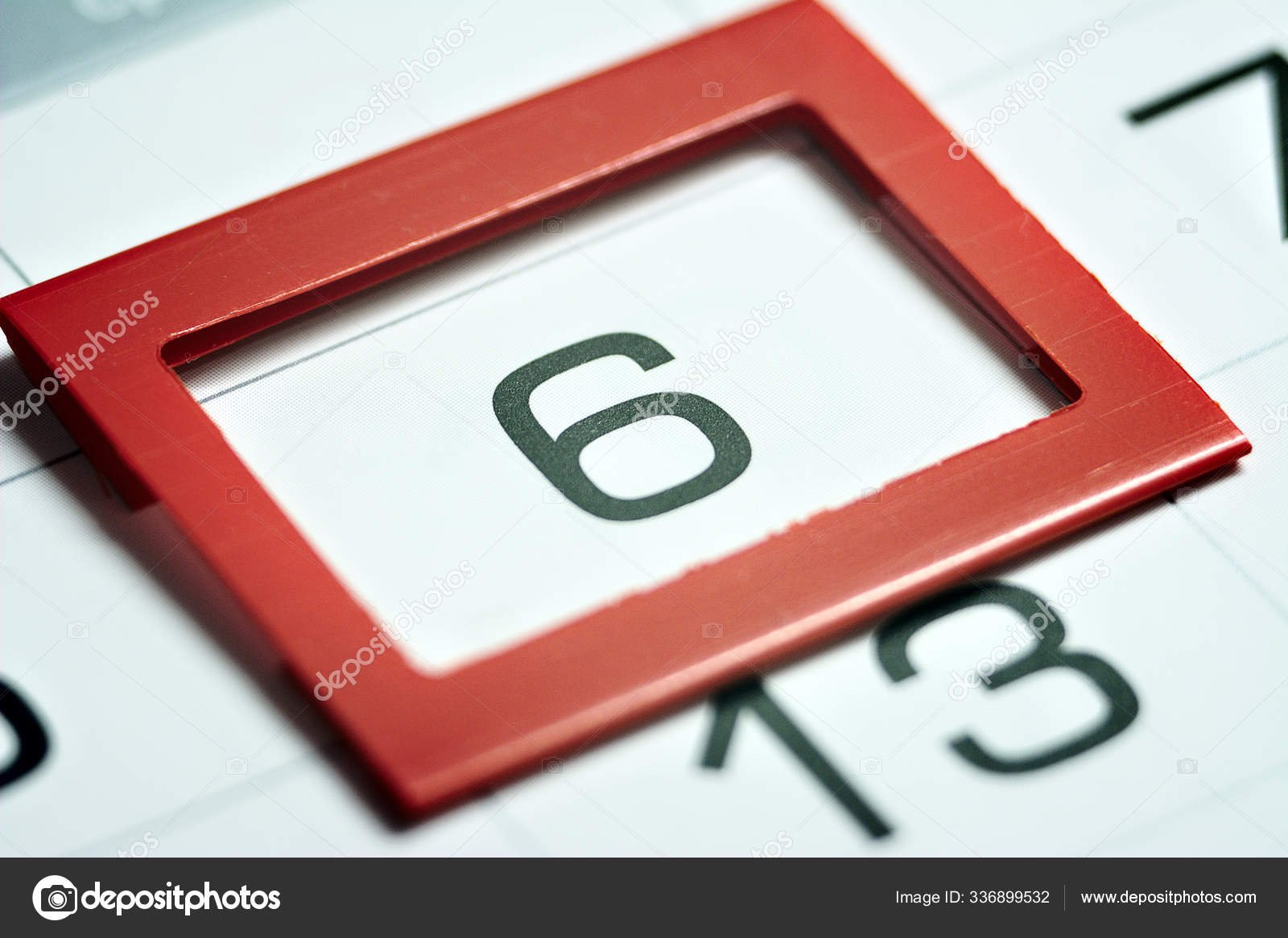 Sixth Day Month Highlighted Calendar Red Frame Close Macro Image Of A Calendar With 2Nd Of Month Highlighted