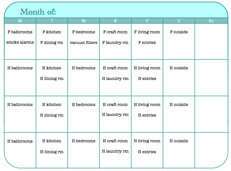 Sk Studios Homemaking: 31 Days :: Day 6, 7, 8, 9  Monthly 31 Day Monthly Schedule