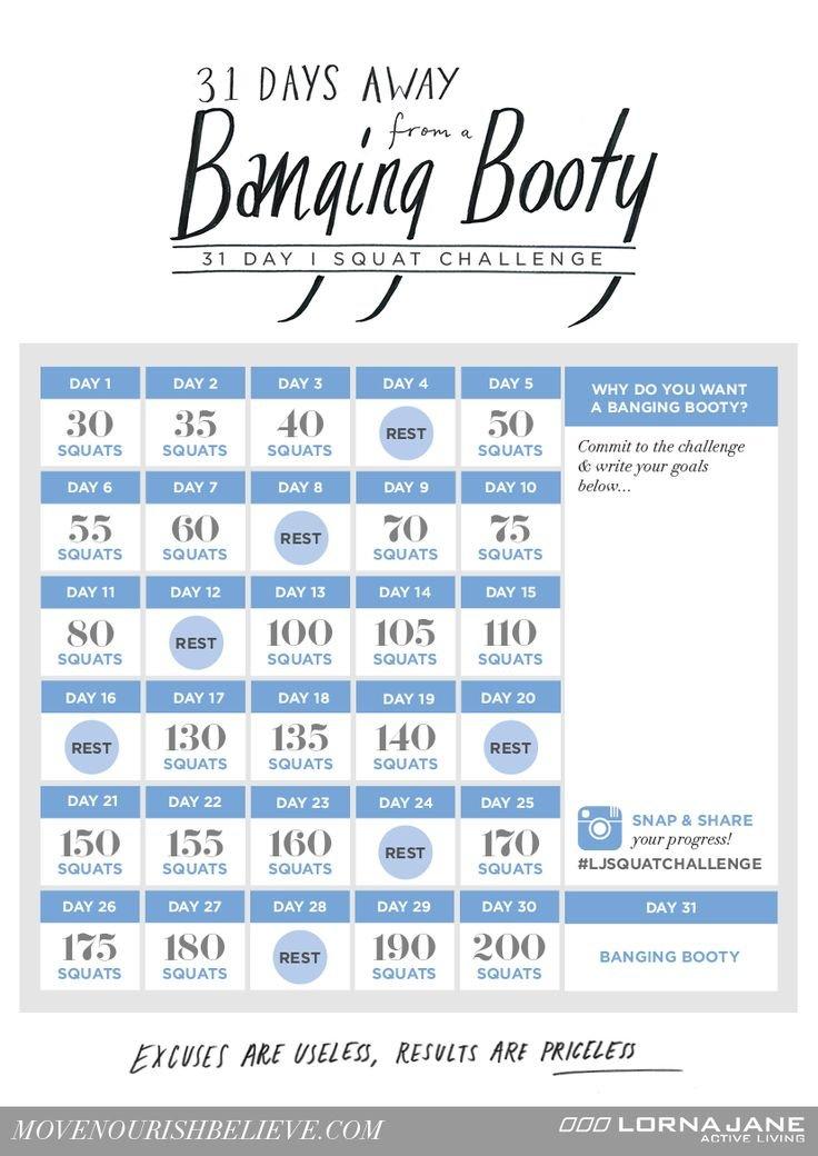 Slow Blogger 30 Day Squat Challenge Schedule Calendar