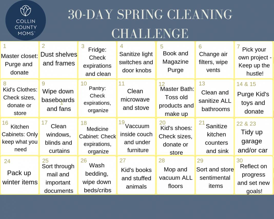 Spring Cleaning: A Free 30 Day Cleaning Challenge Printable 30 Day Challenge Printable Calendar