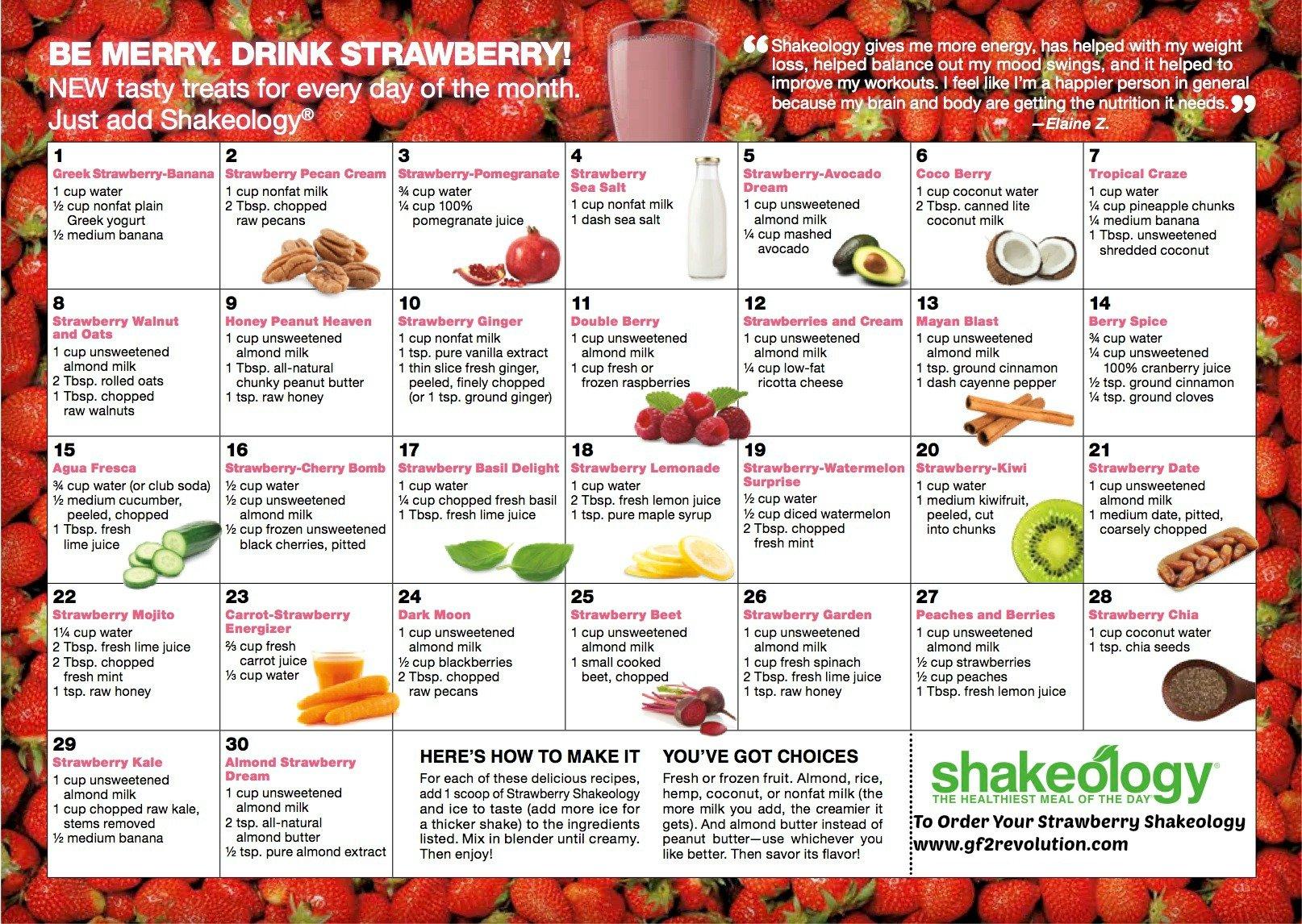 Strawberry Shakeology Recipe Calendar | Gf2 Revolution Hip Hop Abs Schedule Printable
