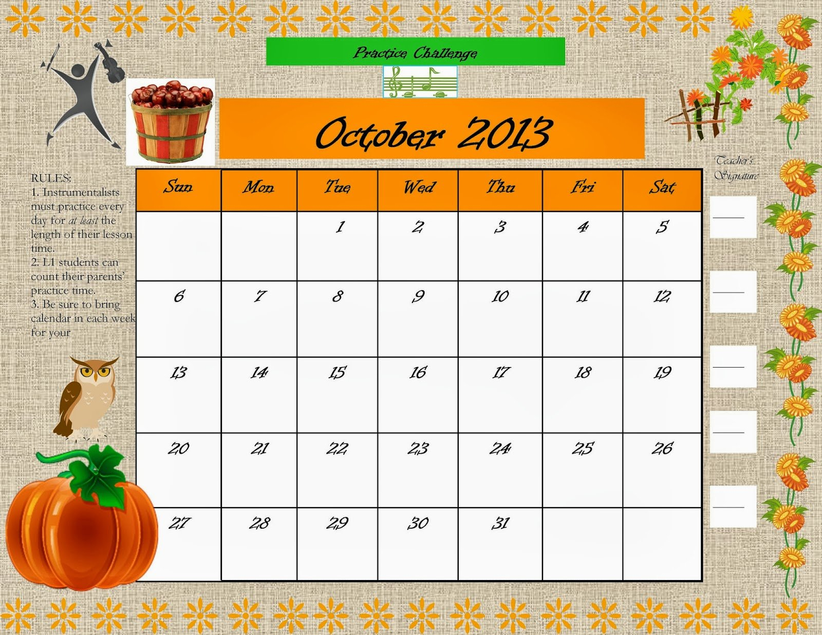 Take Note: October Practice Challenge! Free 2016 Calendar With Room For Taking Notes