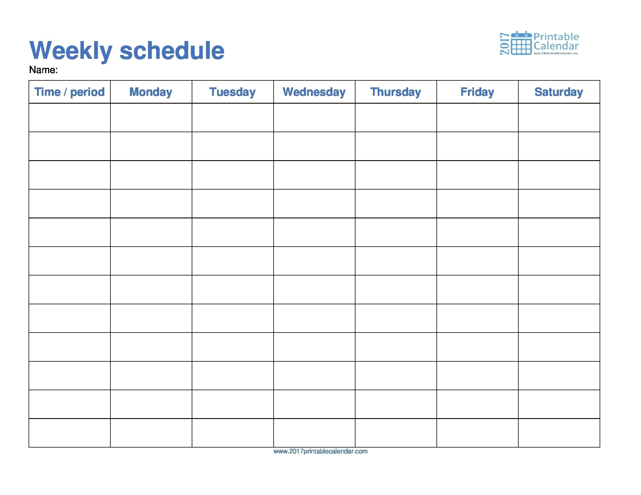 Take Template For Monday Through Friday School Schedule Schedule Template Printable Monday  Sunday