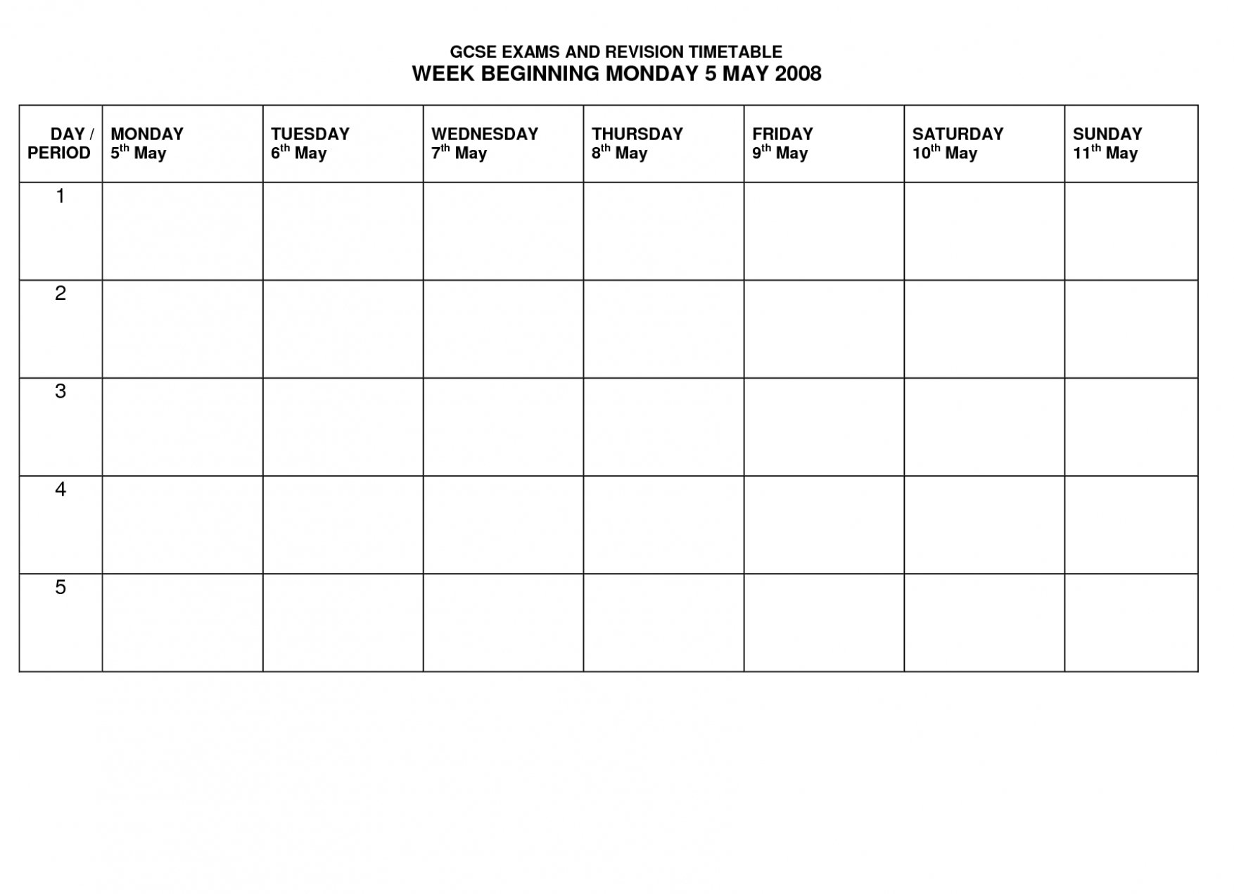 Template For Monday Through Friday School Schedule Monday To Friday Template Download
