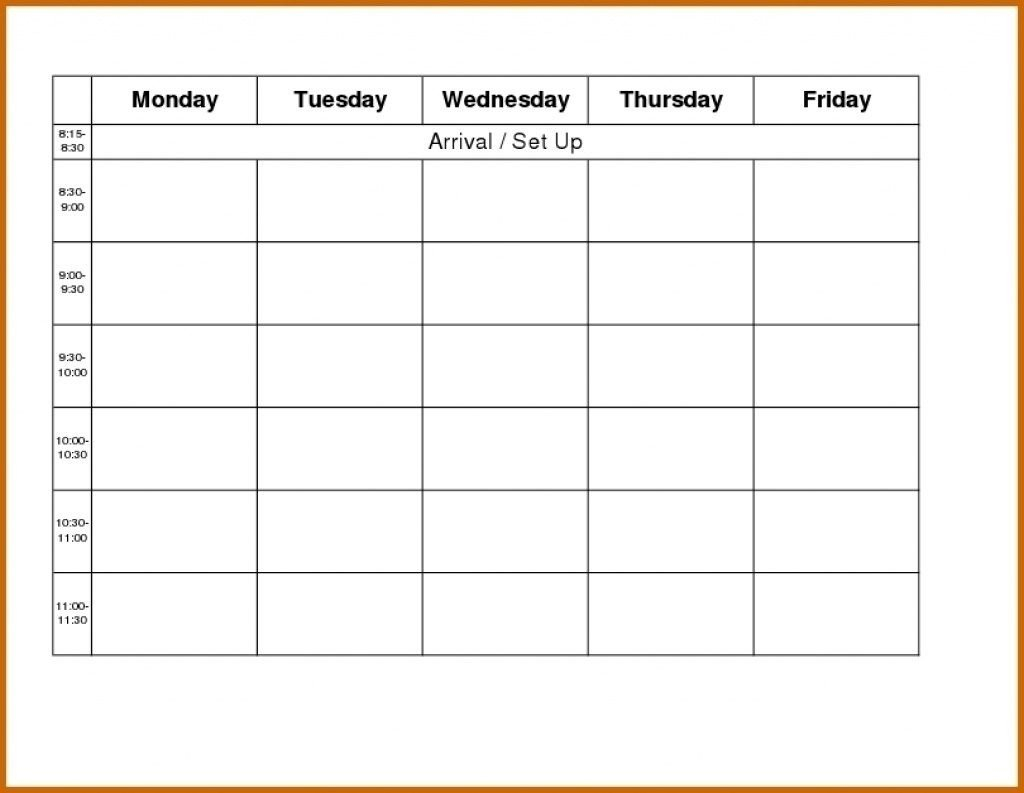 Template For Monday To Friday   Calendar Template Printable Printable Monday To Friday Timetable