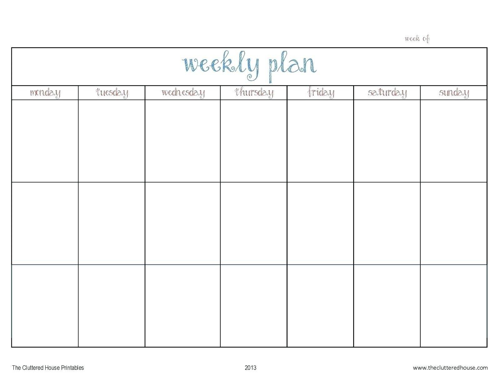 Template For Monday To Friday | Example Calendar Printable Mon Thru Fri Weekly Planner Printable