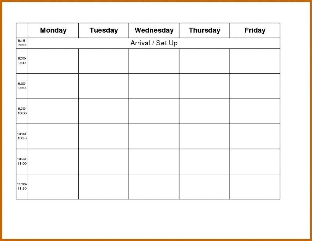 Template Monday To Friday | Calendar Template Printable Free Printable Blank Calendar Monday Friday