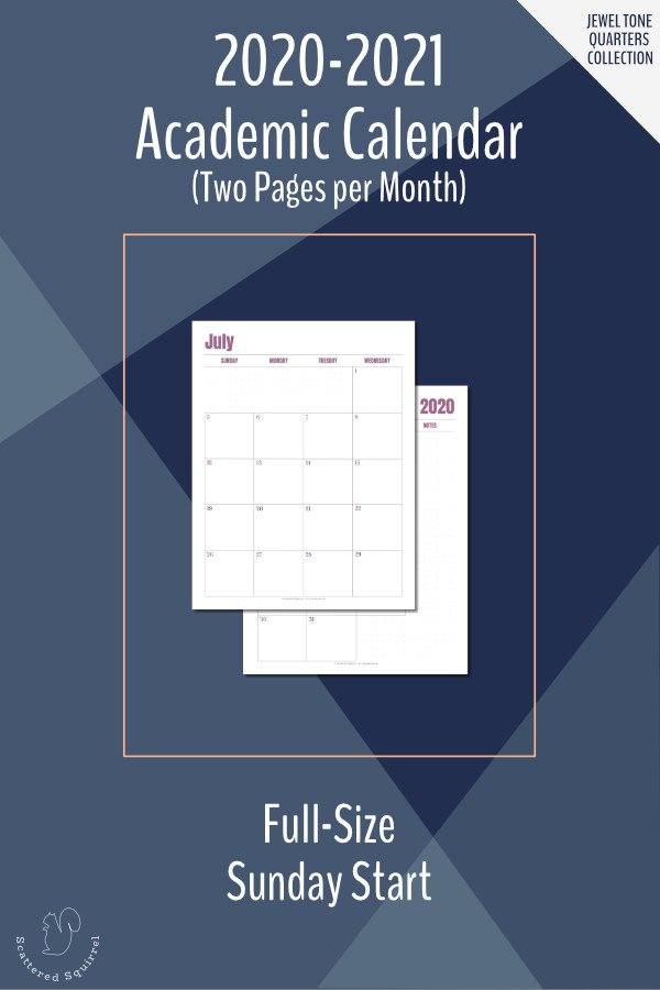 The 2020 2021 Academic Calendar Printables Are Here 2 Week Calender Block Printable Sunday To Sunday