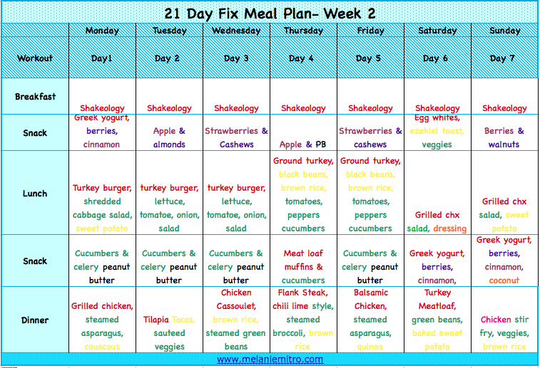 The 21 Day Fix Weekly Meal Plan!!! Totally Doable, Easy Color Coded Weekly Schedule
