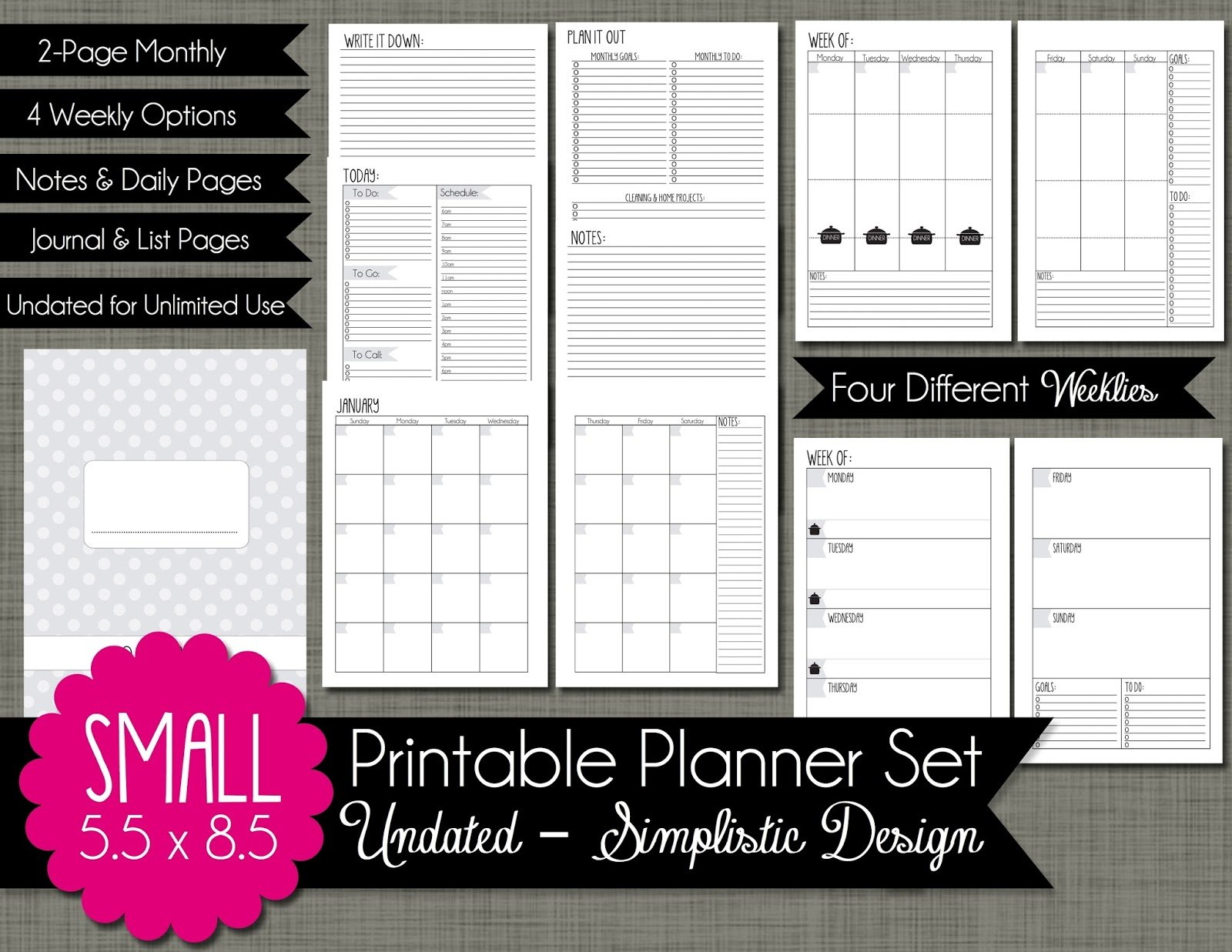The Polka Dot Posie: How To Print & Assemble Our Small Printabel Planner Pages For 5.5 X 8.5 Planner
