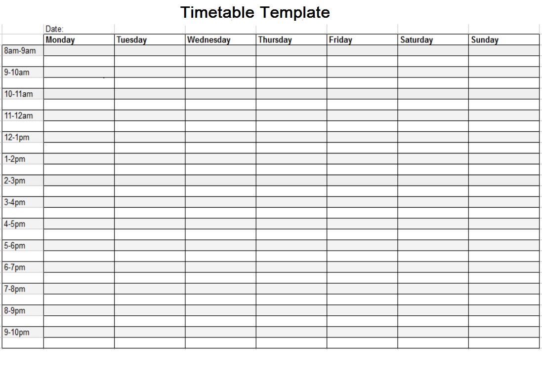 Timetable Template Free | Timetable Template, Daily One Week Schedule Template Printable
