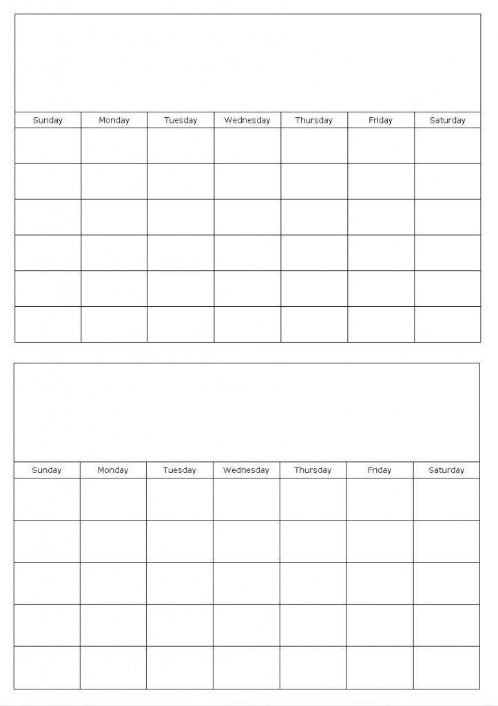 Two Months On A Page Blank Calendar Template   Calendar Blank Printable Two Week Calendar