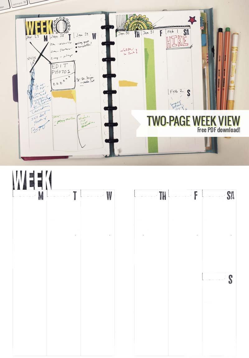 Two Page Week, 5.5 X 8.5 – Diy Planner Template   Amanda Two Week Planner Template