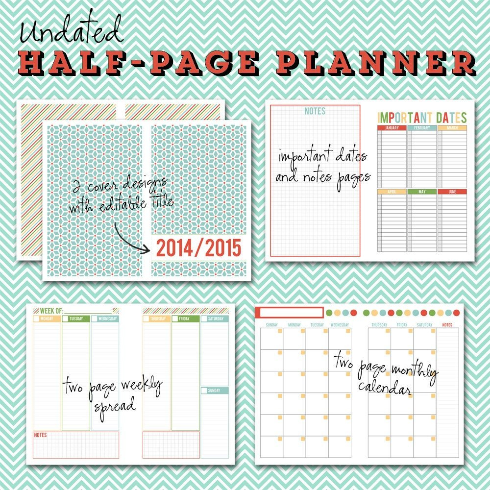 Undated Half Page Printable Planner 5 1/2 X 8 1/2 Instant 2 Week Calender Block Printable Sunday To Sunday