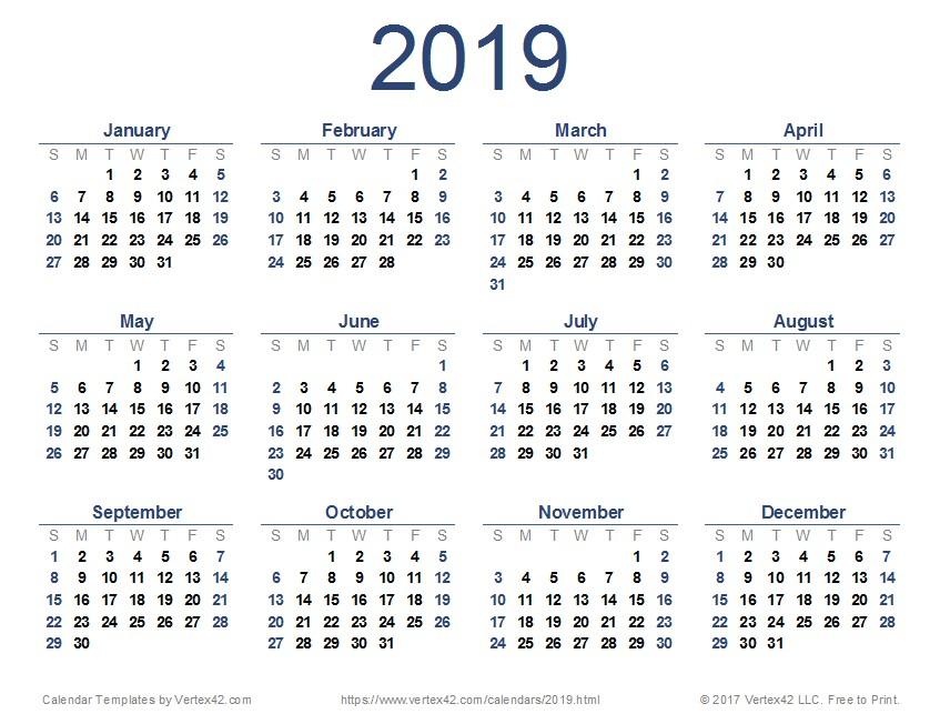 Unique Printable Small Calendar 2019 | Free Printable Small Printable Blank Calendar