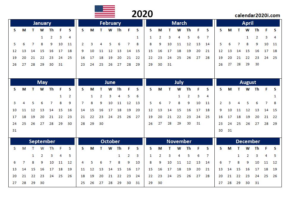 Us 2020 Calendar Yearly 12 Month Printable   Calendar 2020 12 Months Calendar Editable