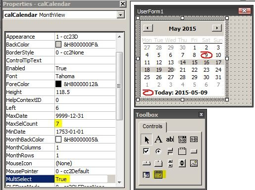 Vba – How To Select Multiple Dates From Usercontrol Insert Calendar In Excel