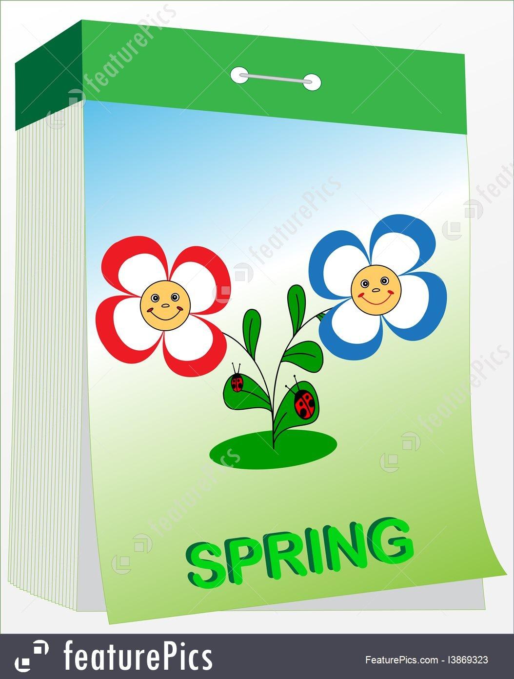 Wall Tear Off Calendar, Spring Stock Illustration I3869323 Free Printable Tear Off Calendar
