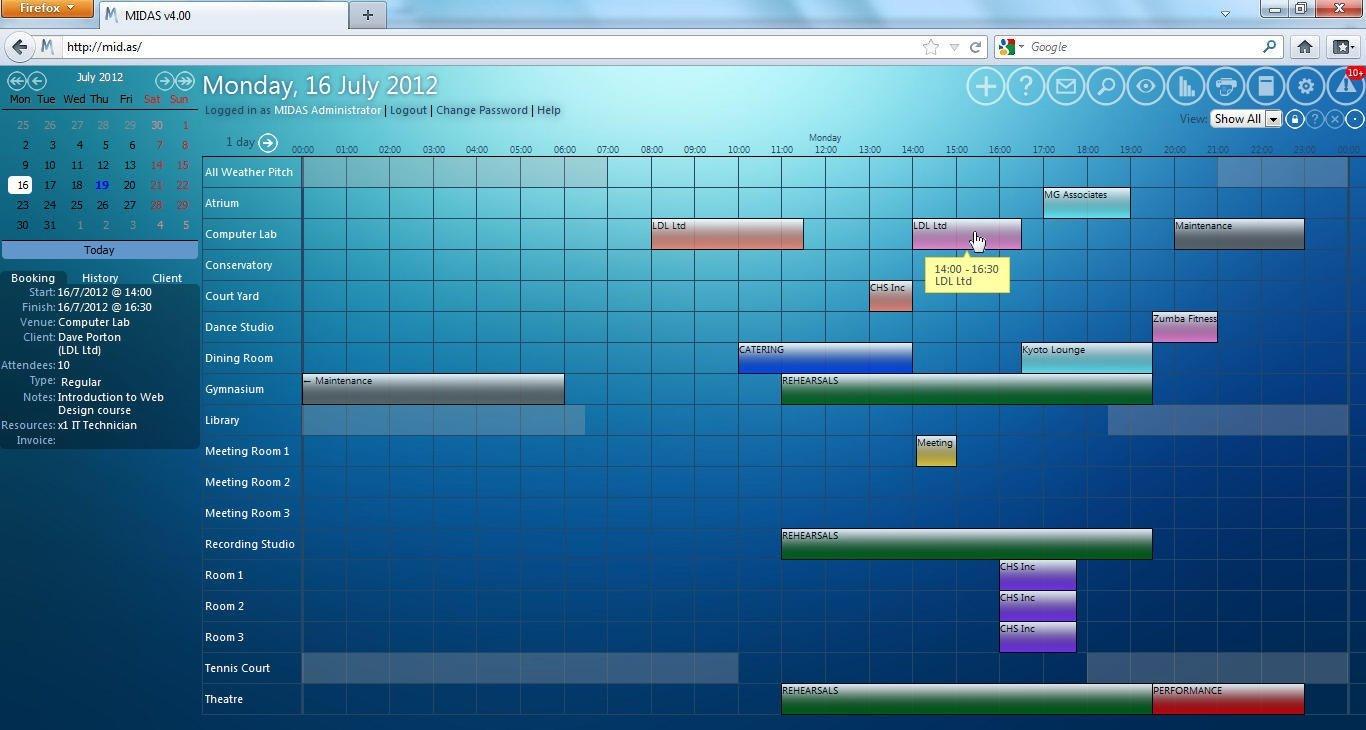 Web Based Room Scheduling | Midas | Room Booking Software Free Reservation Calendar For Website
