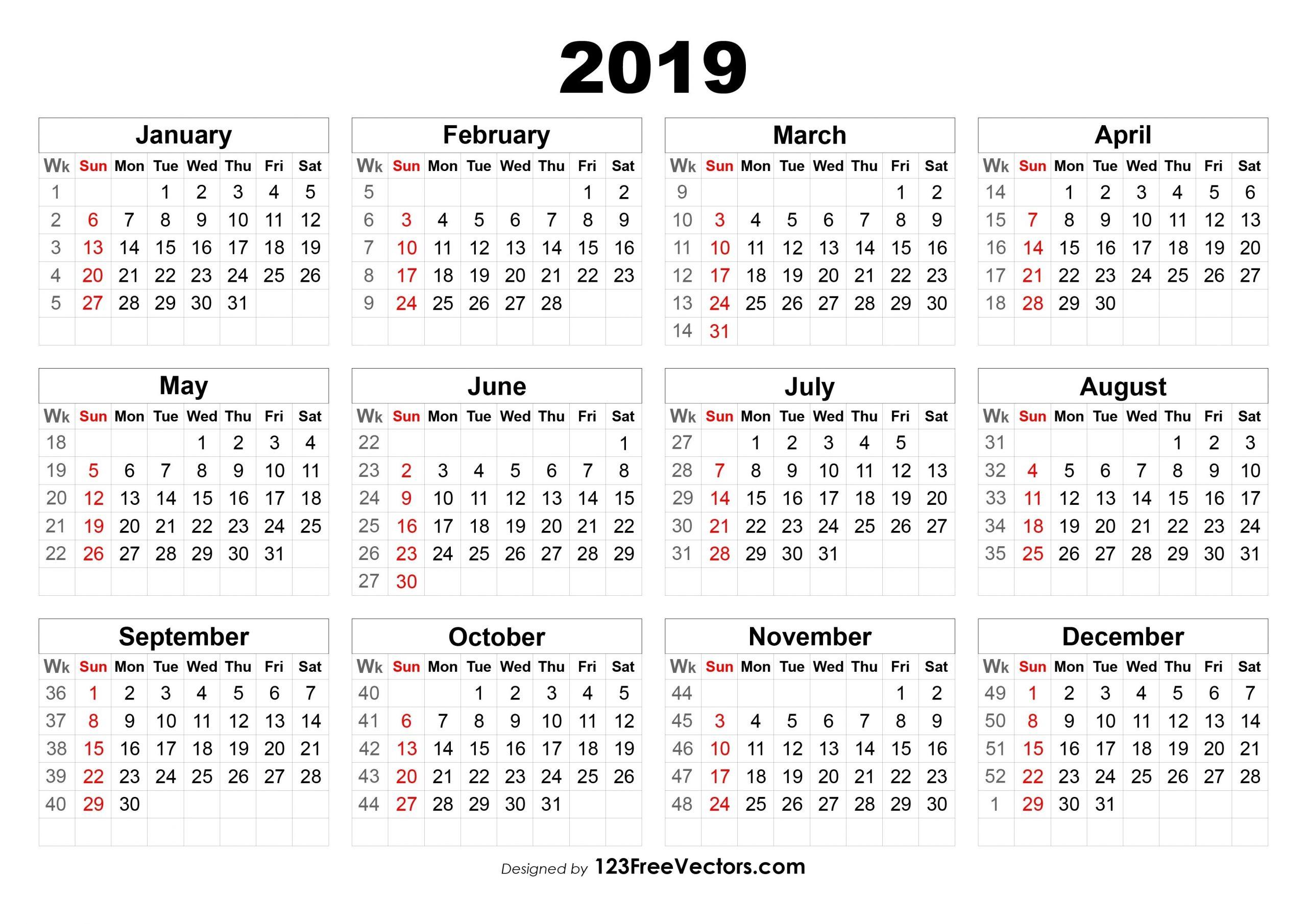 Week 8 2019 Calendar | Free Printable Calendar Printable 8 Week Calendar