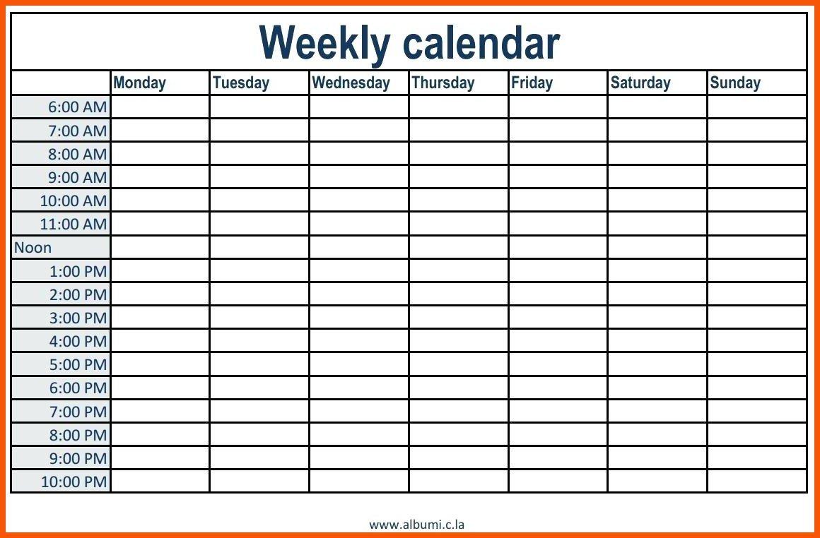 Week Calendar Hour Slots   Calendar Printables Free Templates Free Daily Calendar Monday Through Friday
