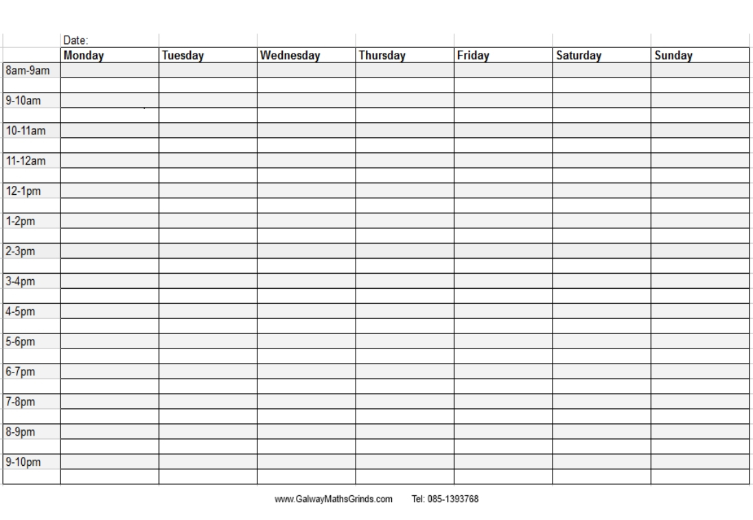 Weekday Schedule With Time Slots – Calendar Inspiration Design Free Weekly Agenda Templates With Time Slots