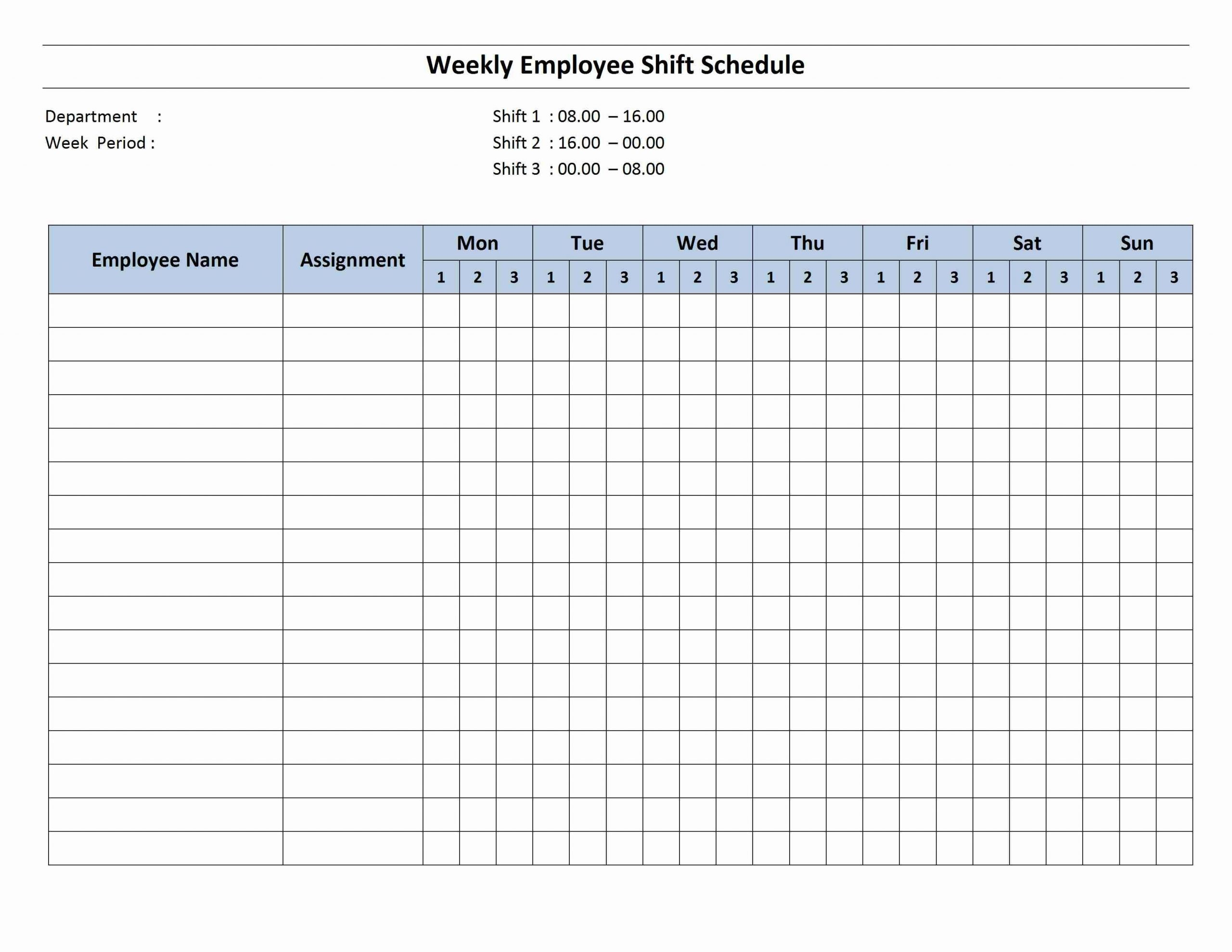 Weekly 8 Hour Shift Schedule | Cleaning Schedule Templates Printable Employee Booked Time Off Calendar