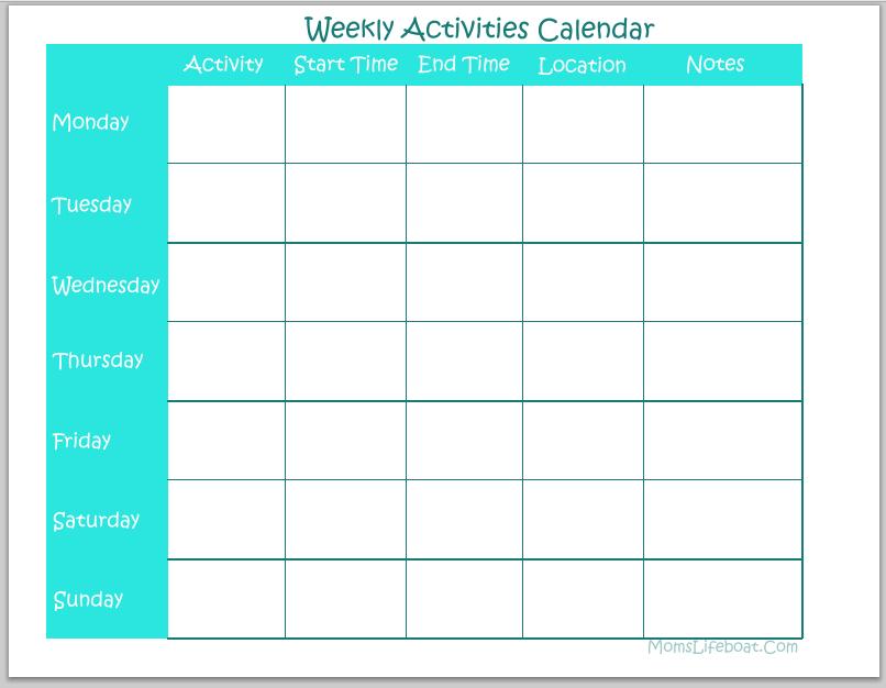 Weekly Activities Calendar – Free Printable Free Blank Calendar For One Week Printable