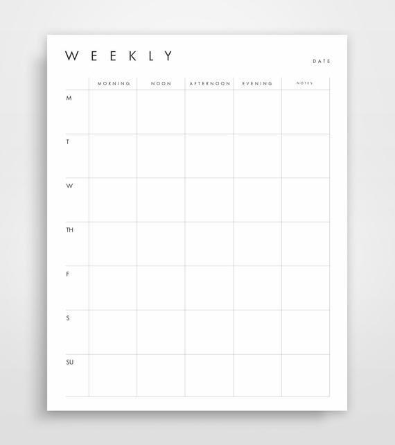Weekly Agenda Week Schedule Printable Planner Weekly One Week Schedule Print