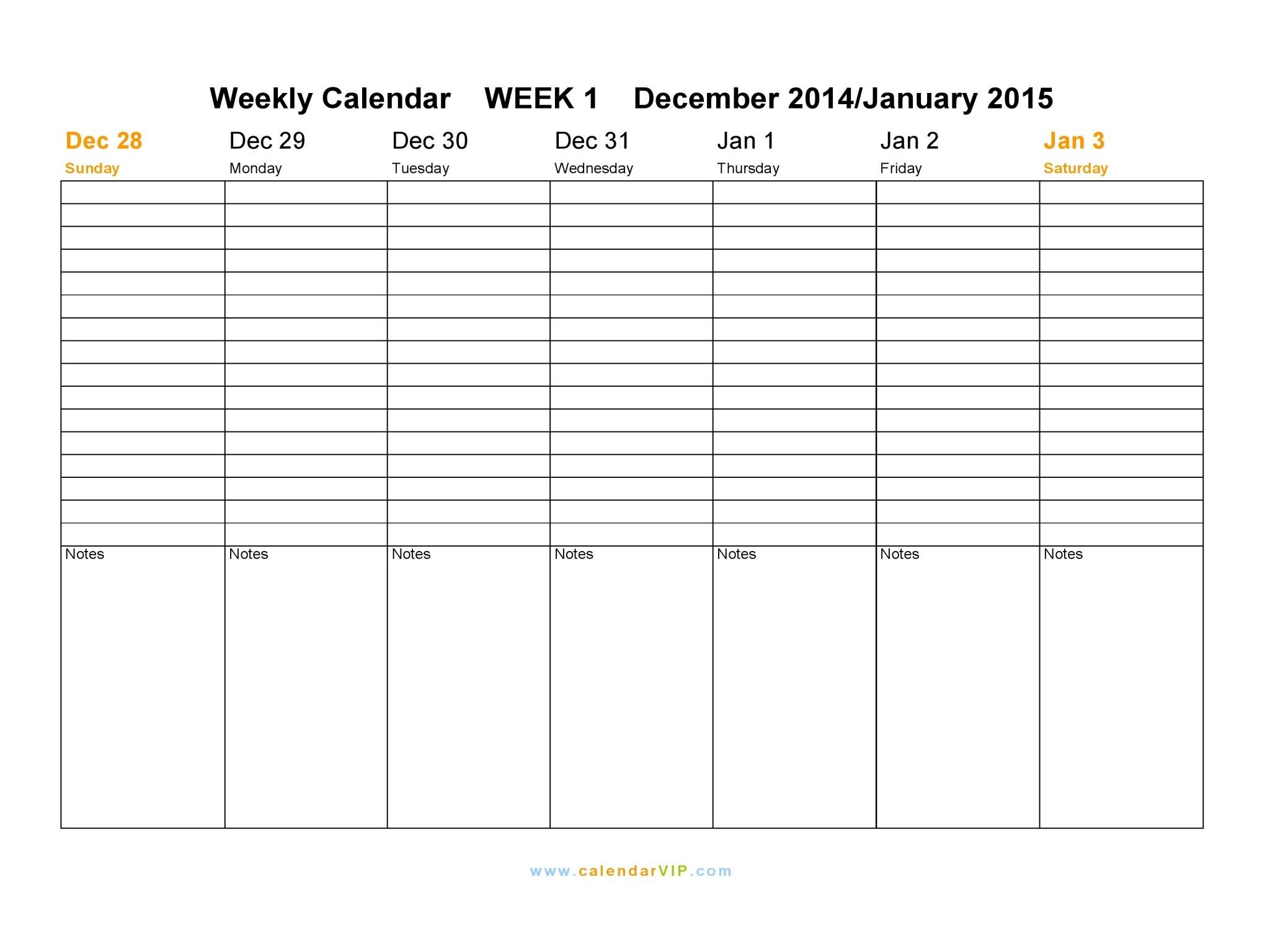 Weekly Calendar 2015 – Free Weekly Calendar Templates 1 Week Blank Calendar Printable