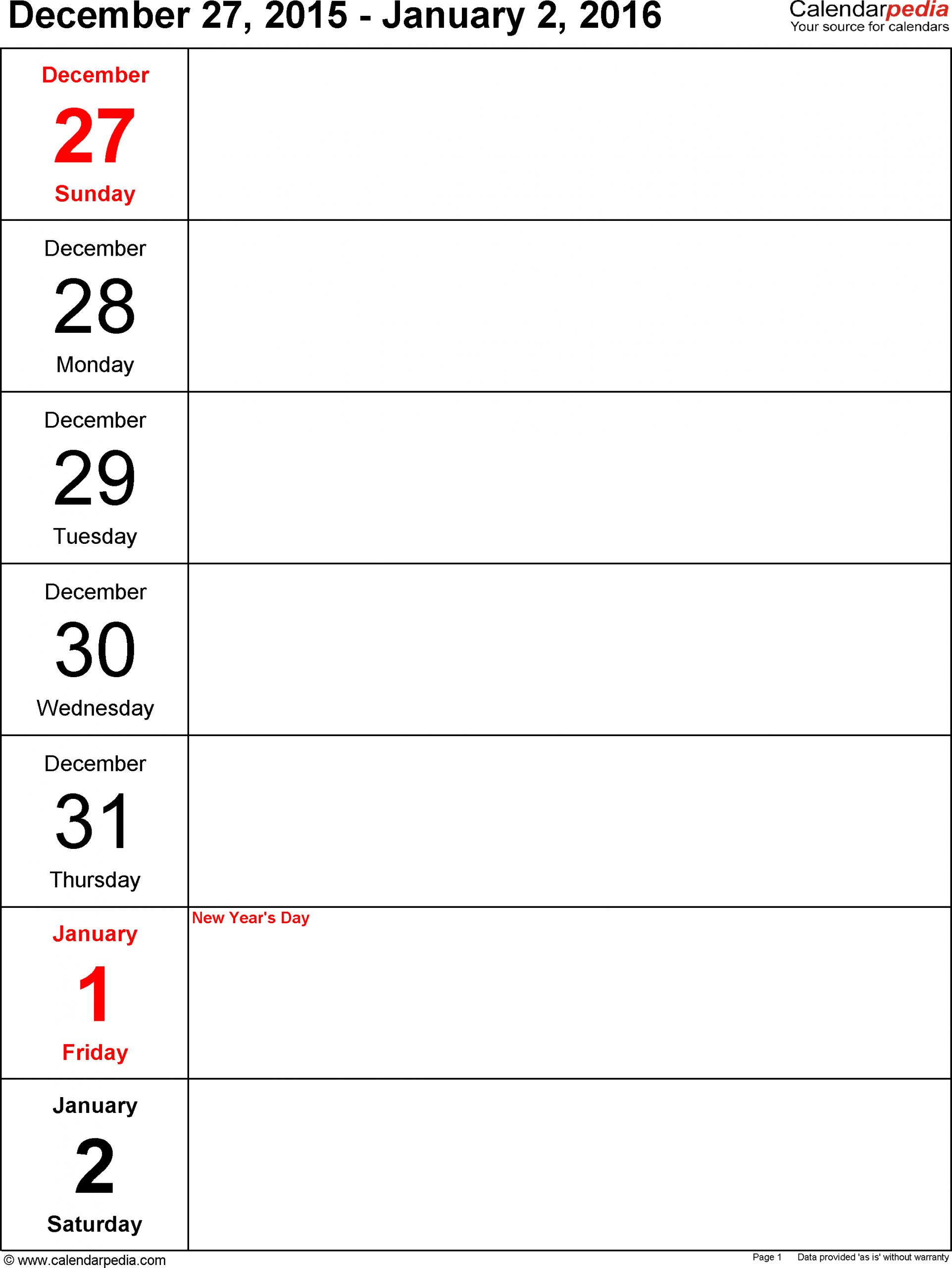 Weekly Calendar 2016: Template For Word Version 10 1 Week Blank Editable Calendar
