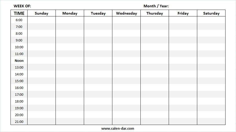 Weekly Calendar 2019 One Week Schedule Template Printable