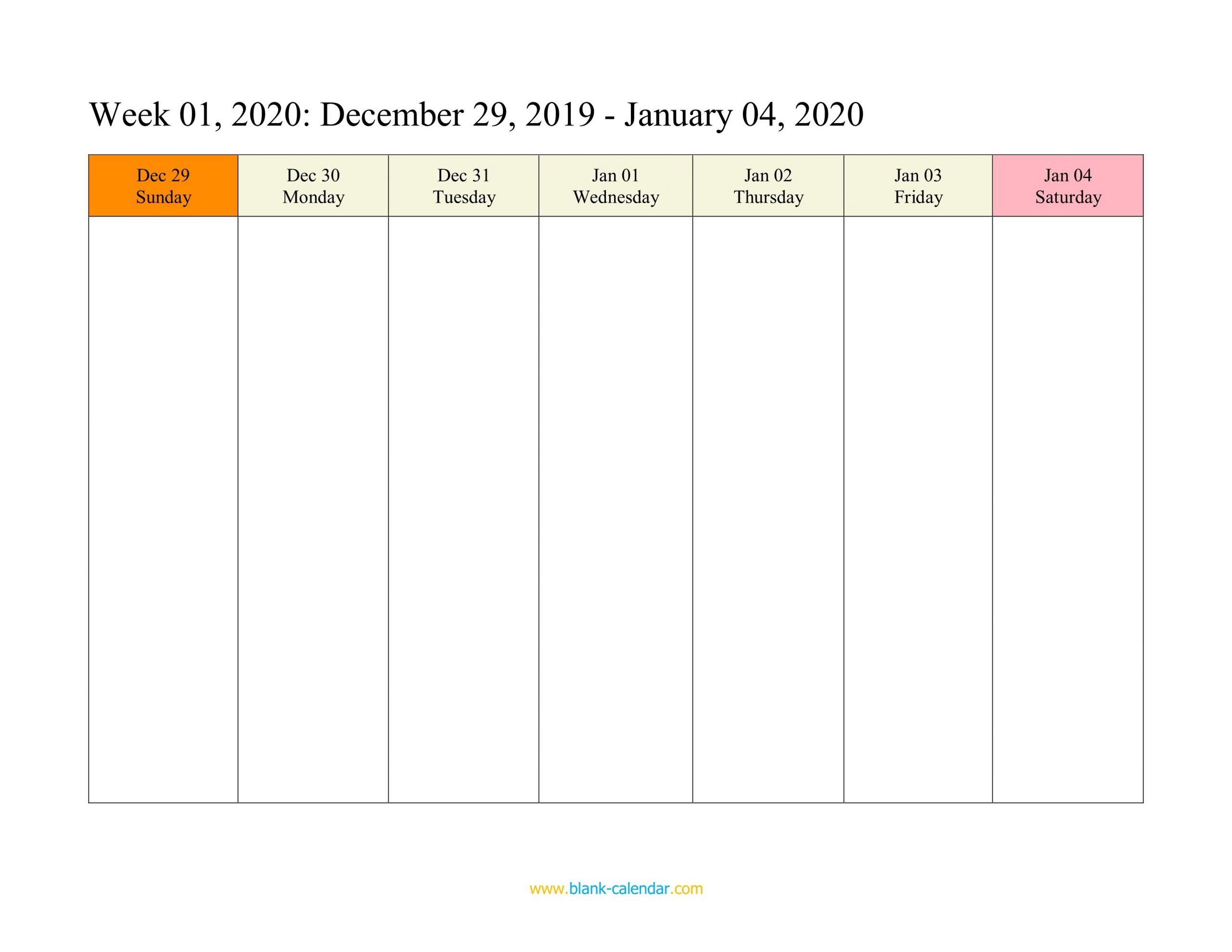 Weekly Calendar 2020 (Word, Excel, Pdf) 1 Week Blank Editable Calendar