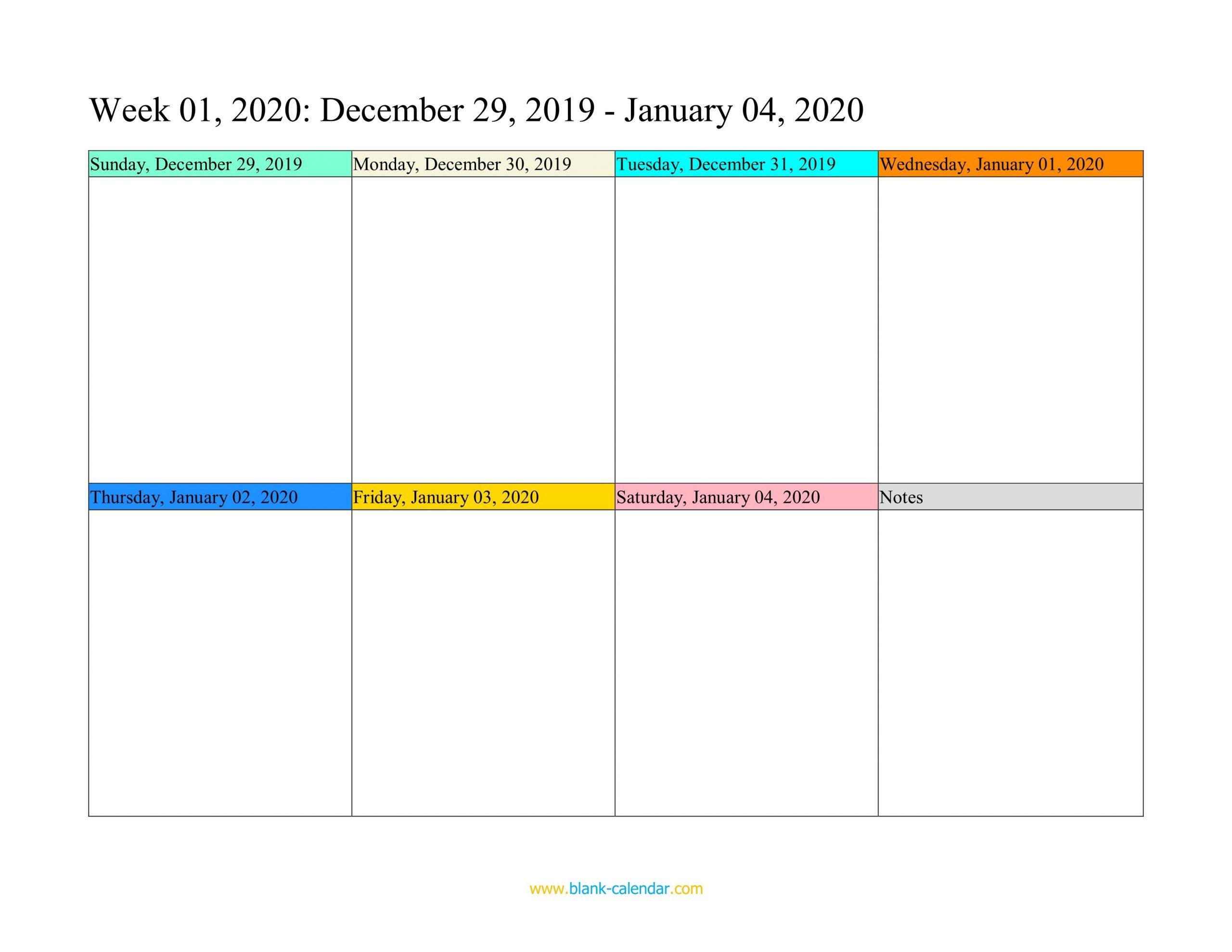 Weekly Calendar 2020 (Word, Excel, Pdf) 1 Week Calendar Pdf