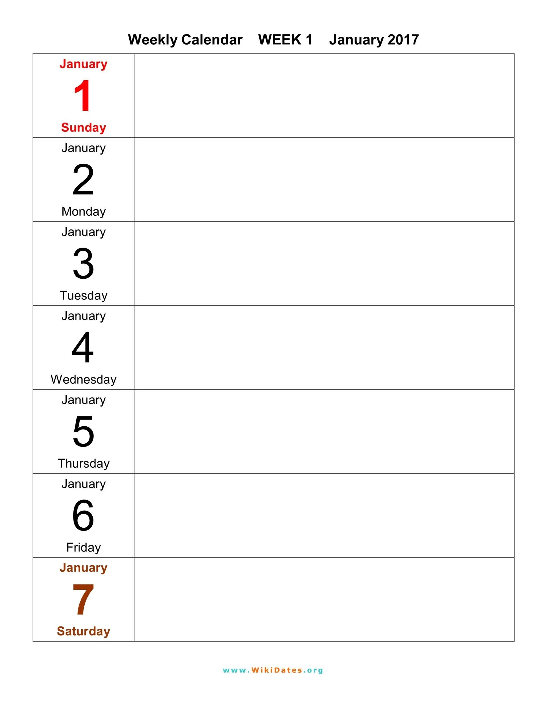 Weekly Calendar – Download Weekly Calendar 2017 And 2018 1 Week Blank Calendar Printable