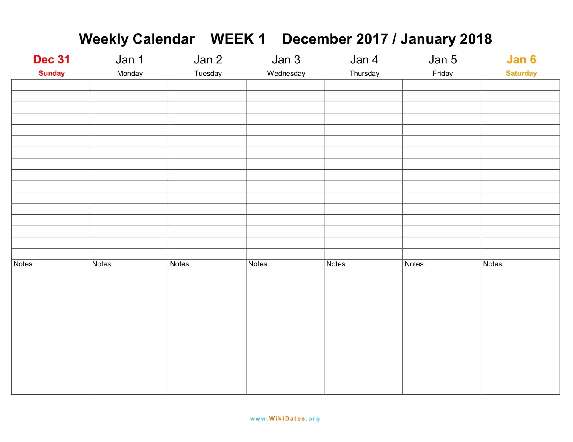 Weekly Calendar - Download Weekly Calendar 2017 And 2018 1 Week Calendar Printable