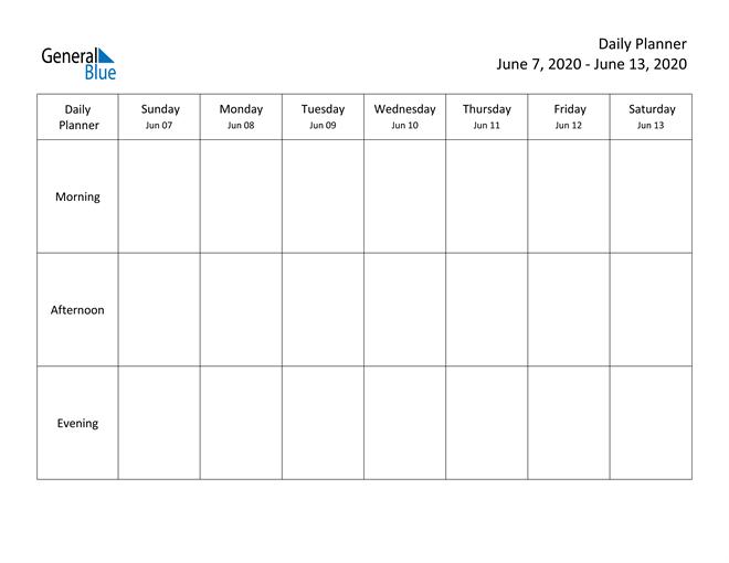 Weekly Calendar – June 7, 2020 To June 13, 2020 – (Pdf Week Day Printable Calander Free