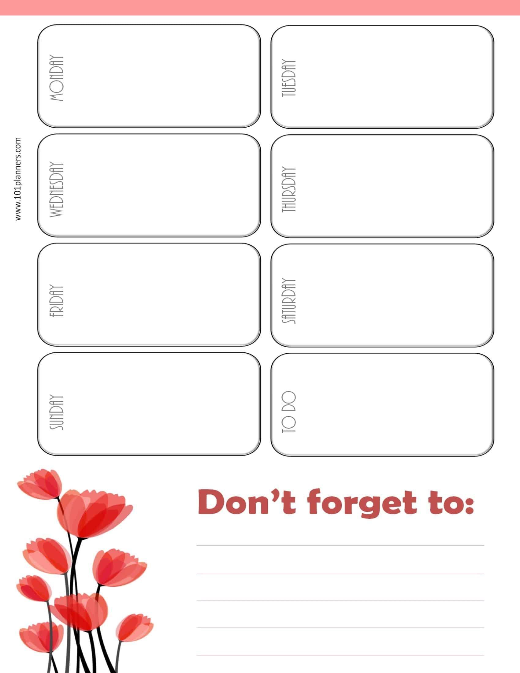 Weekly Calendar Maker | Create Free Custom Calendars Week Day Printable Calander Free
