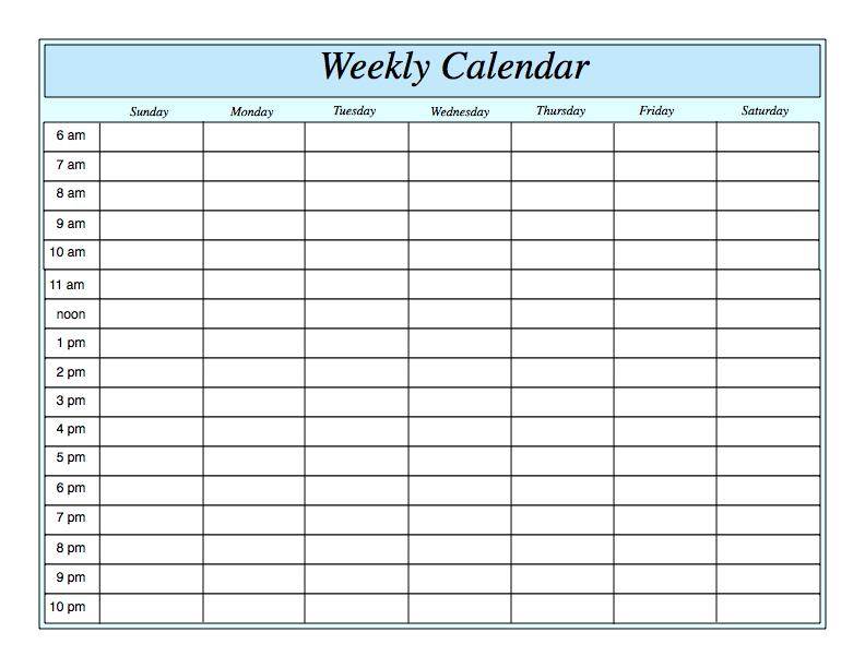Weekly Calendar Template – 2019 Weekly Calendar Excel 1 Week Blank Editable Calendar