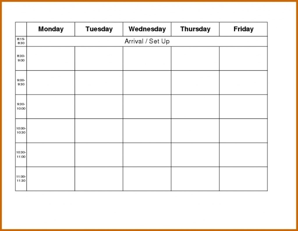 Weekly Calendar Template Monday To Friday   Example Monday To Friday Planner