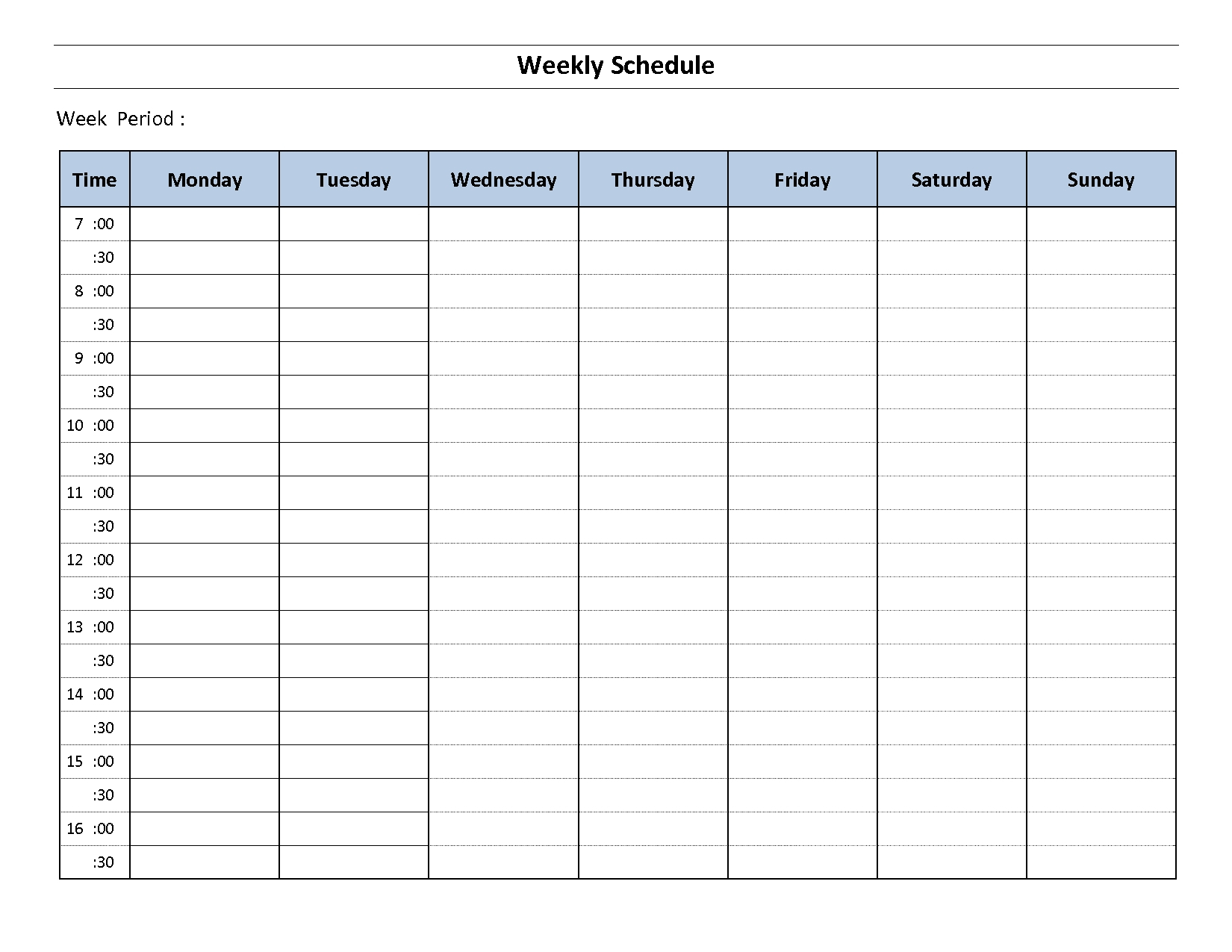 Weekly Calendar With Time Slots Template | Calendar Free Time Slot Template