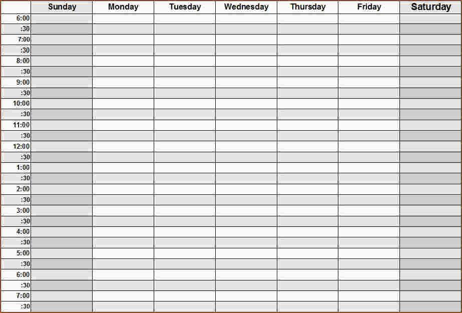Weekly Calendarhour – Printable Week Calendar One Week Lined Schedule