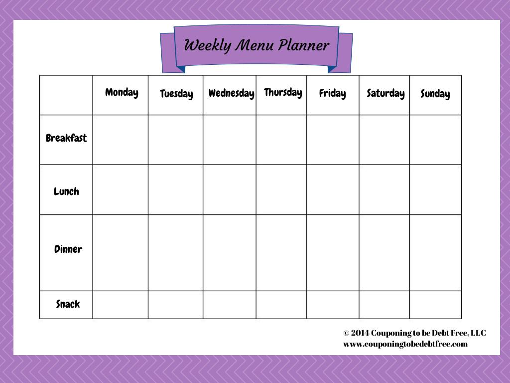 Weekly Menu Planner Printable Free Blank Calendar For One Week Printable