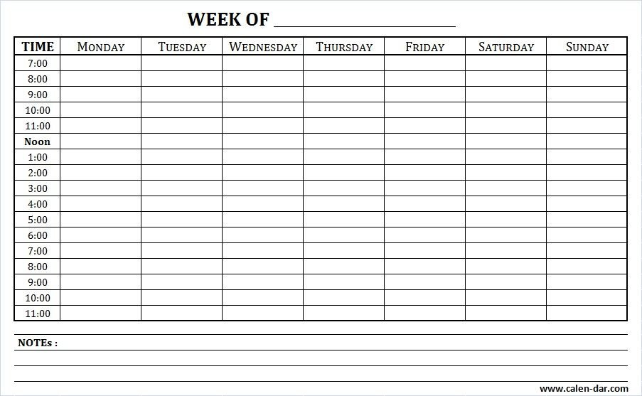 Weekly Schedule Printable With Times And Notes   Schedule Weekly Calendar Saturday To Friday